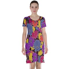 Colorful Floral Pattern Background Short Sleeve Nightdress