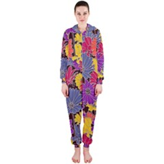 Colorful Floral Pattern Background Hooded Jumpsuit (Ladies)