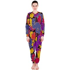 Colorful Floral Pattern Background OnePiece Jumpsuit (Ladies)