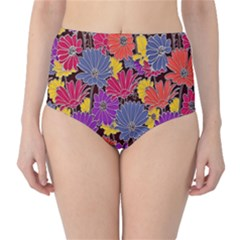 Colorful Floral Pattern Background High-Waist Bikini Bottoms
