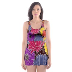 Colorful Floral Pattern Background Skater Dress Swimsuit
