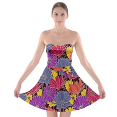 Colorful Floral Pattern Background Strapless Bra Top Dress