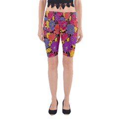 Colorful Floral Pattern Background Yoga Cropped Leggings