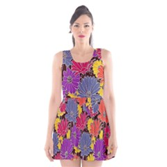 Colorful Floral Pattern Background Scoop Neck Skater Dress