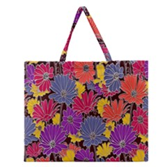 Colorful Floral Pattern Background Zipper Large Tote Bag