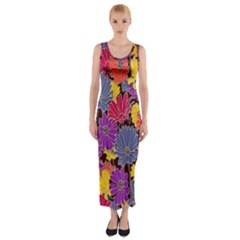 Colorful Floral Pattern Background Fitted Maxi Dress
