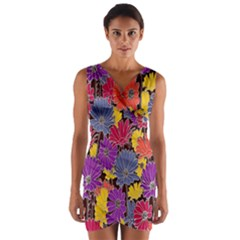 Colorful Floral Pattern Background Wrap Front Bodycon Dress