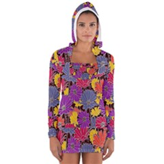 Colorful Floral Pattern Background Women s Long Sleeve Hooded T-shirt