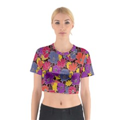 Colorful Floral Pattern Background Cotton Crop Top