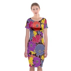 Colorful Floral Pattern Background Classic Short Sleeve Midi Dress