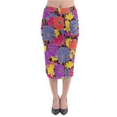 Colorful Floral Pattern Background Midi Pencil Skirt