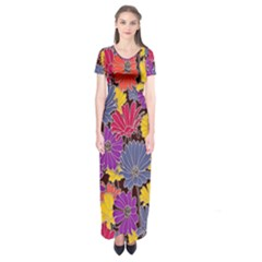 Colorful Floral Pattern Background Short Sleeve Maxi Dress