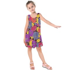 Colorful Floral Pattern Background Kids  Sleeveless Dress