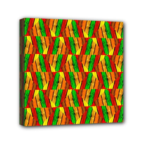 Colorful Wooden Background Pattern Mini Canvas 6  x 6