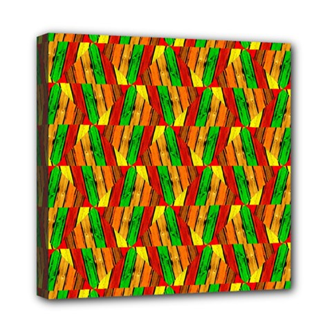 Colorful Wooden Background Pattern Mini Canvas 8  X 8