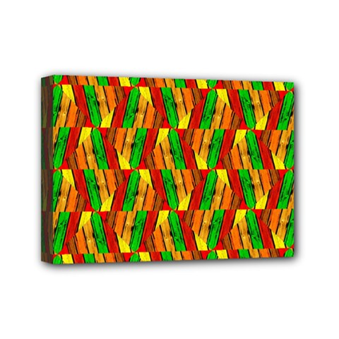 Colorful Wooden Background Pattern Mini Canvas 7  x 5
