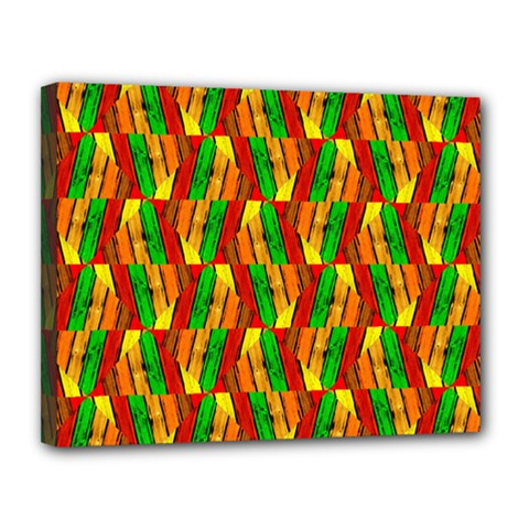 Colorful Wooden Background Pattern Canvas 14  X 11