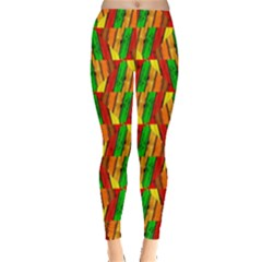 Colorful Wooden Background Pattern Leggings
