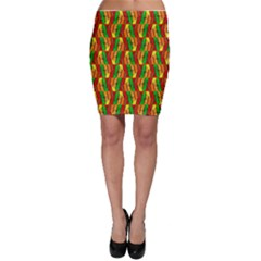 Colorful Wooden Background Pattern Bodycon Skirt
