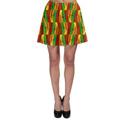 Colorful Wooden Background Pattern Skater Skirt
