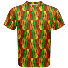 Colorful Wooden Background Pattern Men s Cotton Tee