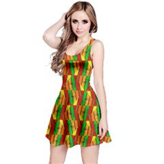 Colorful Wooden Background Pattern Reversible Sleeveless Dress