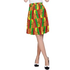 Colorful Wooden Background Pattern A-Line Skirt