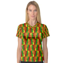 Colorful Wooden Background Pattern Women s V Neck Sport Mesh Tee