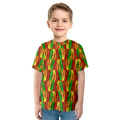 Colorful Wooden Background Pattern Kids  Sport Mesh Tee