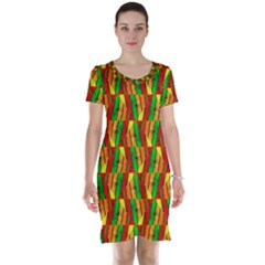 Colorful Wooden Background Pattern Short Sleeve Nightdress