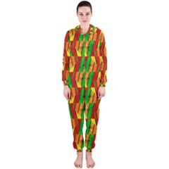 Colorful Wooden Background Pattern Hooded Jumpsuit (Ladies)
