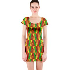 Colorful Wooden Background Pattern Short Sleeve Bodycon Dress