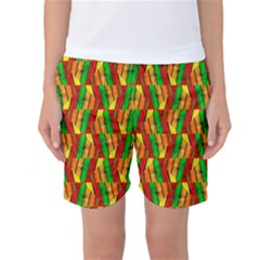 Colorful Wooden Background Pattern Women s Basketball Shorts