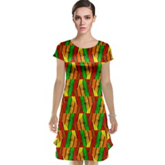 Colorful Wooden Background Pattern Cap Sleeve Nightdress