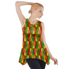 Colorful Wooden Background Pattern Side Drop Tank Tunic