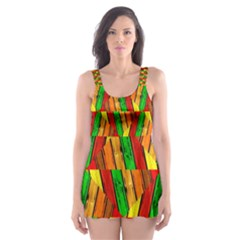 Colorful Wooden Background Pattern Skater Dress Swimsuit
