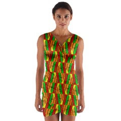 Colorful Wooden Background Pattern Wrap Front Bodycon Dress