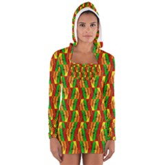 Colorful Wooden Background Pattern Women s Long Sleeve Hooded T-shirt