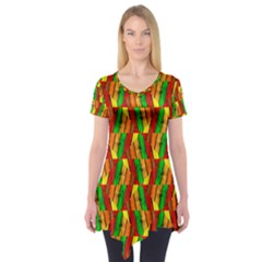 Colorful Wooden Background Pattern Short Sleeve Tunic