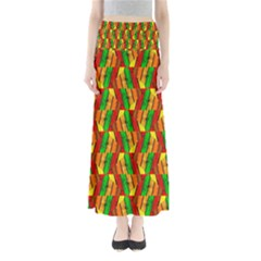 Colorful Wooden Background Pattern Maxi Skirts
