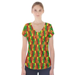 Colorful Wooden Background Pattern Short Sleeve Front Detail Top