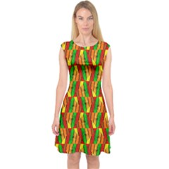 Colorful Wooden Background Pattern Capsleeve Midi Dress