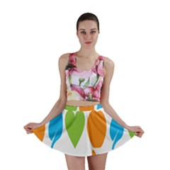 Fruit Apple Orange Green Blue Mini Skirt