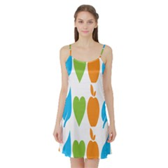 Fruit Apple Orange Green Blue Satin Night Slip