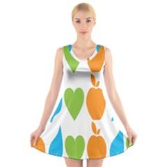 Fruit Apple Orange Green Blue V-Neck Sleeveless Skater Dress