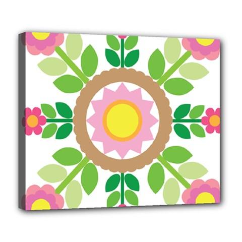 Flower Floral Sunflower Sakura Star Leaf Deluxe Canvas 24  x 20