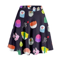Japanese Food Sushi Fish High Waist Skirt