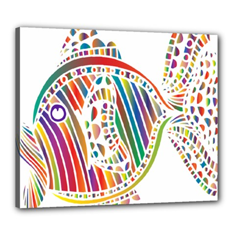 Colorful Fish Animals Rainbow Canvas 24  x 20