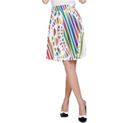 Colorful Fish Animals Rainbow A-Line Skirt