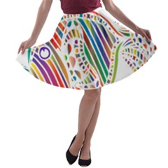 Colorful Fish Animals Rainbow A Line Skater Skirt